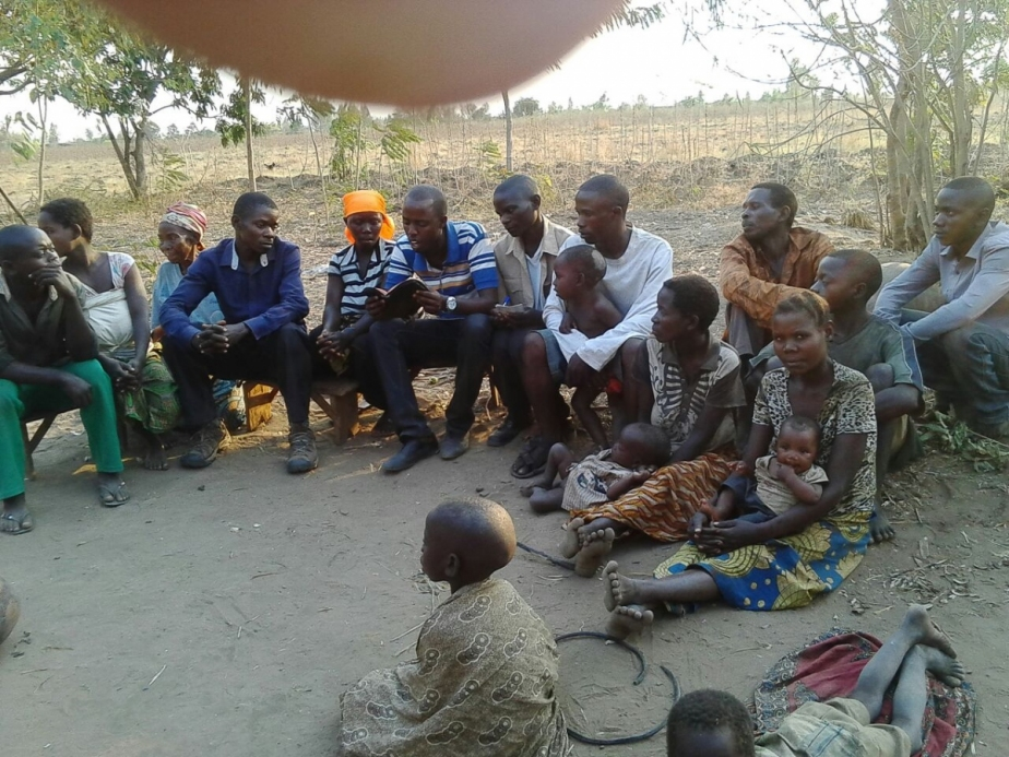 Africans in an outdoor church gathering