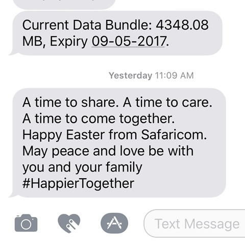 A time to share. A time to care. A time to come together. Happy Easter from Safaricom. May peace and love be with you and your family #HappierTogether